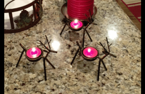 set of reindeer tea light candle holders