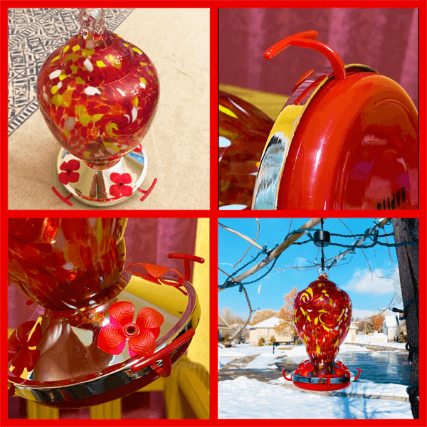 Hapito Hummingbird Feeder for Outdoors - Hand Blown Glass