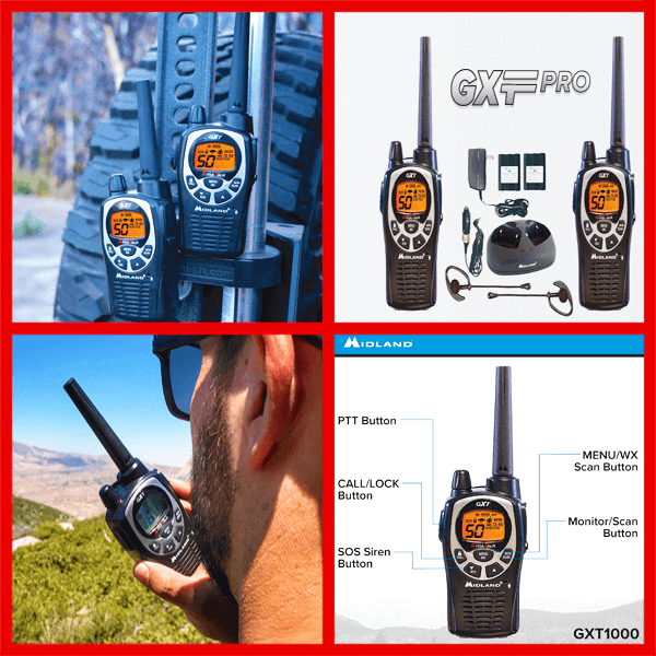 Midland - GXT1000VP4 50 Channel GMRS Two-Way Radio