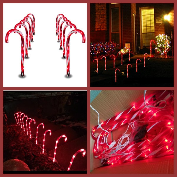 Prextex Christmas Candy Cane Pathway Markers Set of 10