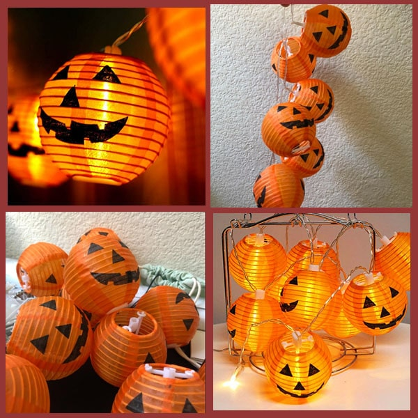 Pumpkin String Lights Detachable Polyester Halloween Pumpkin